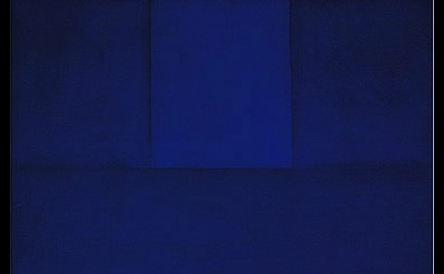 Ad Reinhardt, Abstract Painting, Blue, 1952, oil on canvas, 30 x 25 inches (Muse
