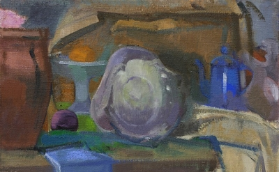 Ruth Miller, Shell, Blue Coffee Pot, oil on linen, 16 x 22 inches, 2011 (courtes