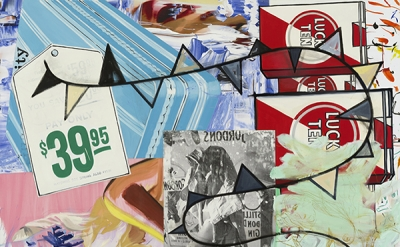 David Salle, Pay Only $39.95, 2014–2015, oil, acrylic, crayon archival digital p