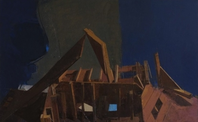 Sangram Majumdar, Altered Structure, 42 x 50 inches, oil on linen, 2011 (Courtes