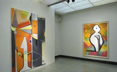 Installation view with works by Thomas Scheibitz, Geist und Form: Ten Painters f