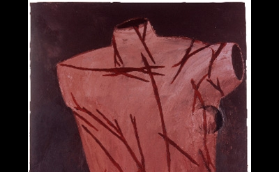 Julian Schnabel, St. Sebastian, 1979, oil and wax on canvas, 111 x 66 inches (co