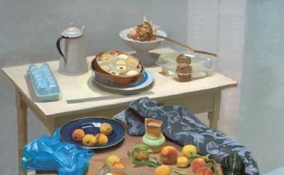 Scott Noel, Still Life with Street Peaches, oil on linen, 46 x 42 inches, 2008