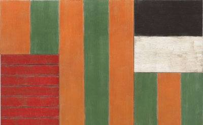 Sean Scully. A Green Place, 1987, oil on linen, 84 x 86 1/2 x 5 1/4 inches (courtesy Mnuchin Gallery, New York, © Sean Scully. Photograph: Tom Powel Imaging)