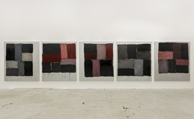Sean Scully, Kind of Red, 2013, 5 parts each: 85 x 75 inches, oil on aluminium (