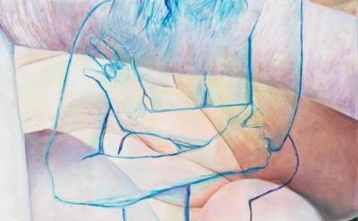 Joan Semmel, Blue Embrace, 2016, oil on canvas 60hx 48 inches (courtesy of Alexander Gray Associates)