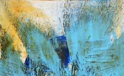 Shozo Shimamoto, Bottle Crash, 1962, Glass and paint on canvas, 63 3/4 x 51 1/8