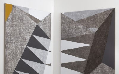 Francesca Simon, In Construction, 2014, acrylic on linen on wood, diptych, each