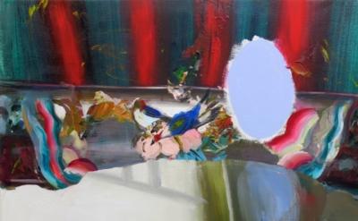 Judith Simonian, Blue Mirror Table, 2014, acrylic on canvas, 28 x 30.75 inches (
