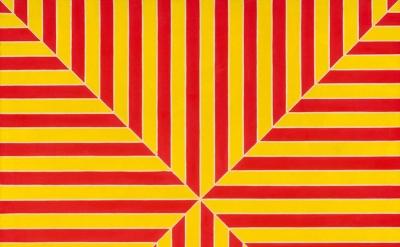 Frank Stella, Marrakech, 1964, Fluorescent alkyd on canvas, 77 × 77 × 2 7/8 inch