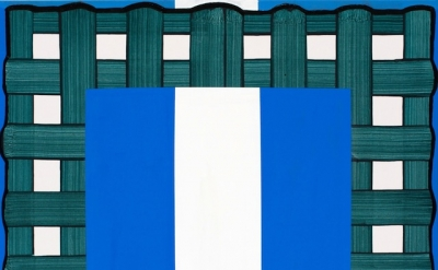 Gary Stephan, Small Mental Furniture (White and Blue), acrylic on canvas, 40 x 3