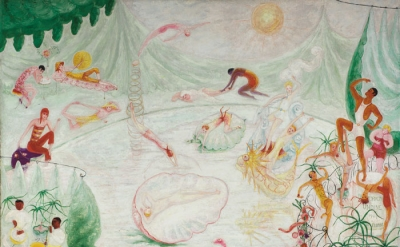 Florine Stettheimer, Natatorium Undine, 1927, oil and encaustic on canvas, 50 1/