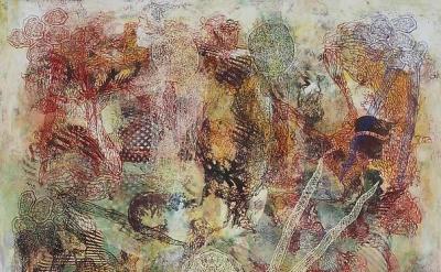 Philip Taaffe, Imaginary Landscape I, 2013, mixed media on canvas 37 1/2 x 37 5/