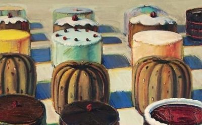 Wayne Thiebaud, Various Cakes, 1981, oil on canvas, 25 x 23 inches (courtesy of John Berggruen Gallery)