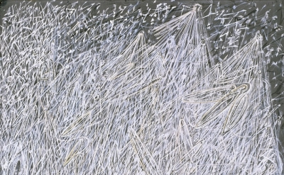 Mark Tobey, White Night, 1942, tempera on paperboard mounted on composition boar