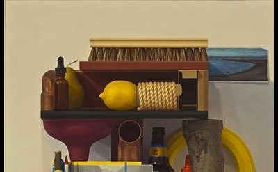 Michael Tompkins, Plum Branch, Blizzard and a Sandy Cove 2012, oil on wood panel