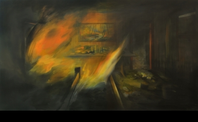 Brandi Twilley, Fire and Fall Painting, 2016, oil on canvas, 32 x 56 inches (courtesy of Sargent's Daughters)
