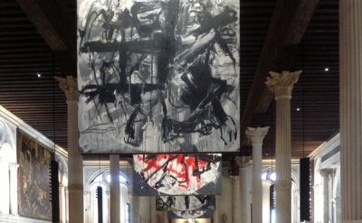 Exhibition view: Vedova / Tintoretto at the Scuola Grande di San Rocco, Venice