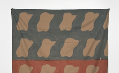 Claude Viallat, 1970/045, 1970, tint on beige sheet, 85.75 x 67 inches (courtesy