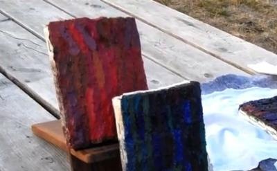 Brett Baker, Hand IV, 2009-2011 and Little Novel, 2009-2011, both oil on canvas,