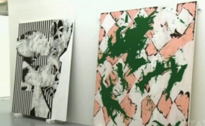Charline von Heyl exhibition being installed at Tate Liverpool (screen capture f
