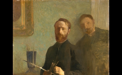 Edouard Vuillard, Self-Portrait with Waroquy, 1889, oil on canvas, 36 1/2 x 28 1