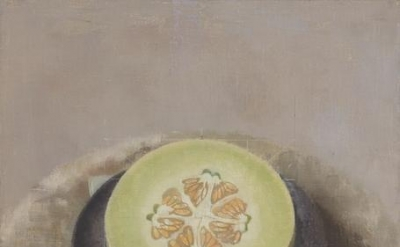 Susan Jane Walp, Melon Sliced Open on a Black Plate with Knife, 2015, oil on linen, 10 3/8 x 10 1/8 inches (courtesy of Tibor de Nagy Gallery)