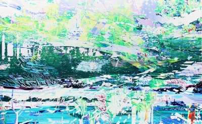 Corinne Wasmuht, Caleta GR, 2009, oil on wood, 87 x 135  inches (courtesy of Pet