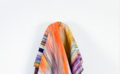 Leslie Wayne, Paint/Rag #31, 2013, oil on board, 14 x 9 x 4 1/2 inches (courtesy