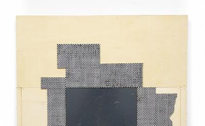 Ken Weathersby, 221 (derrière le miroir), 2014 acrylic & graphite on linen, wood