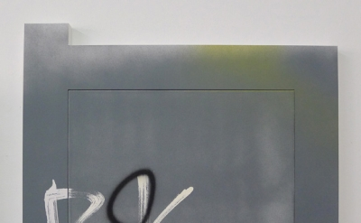 Wendy White, 26 Eldridge, acrylic on canvas, PVC, 26 x 28 x 1 inches, 2012 (cour