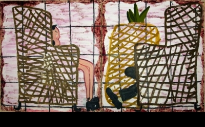 Rose Wylie, Interview, 2012, oil on canvas, 183 x 333 cm 72 x 131,1 inches (cour