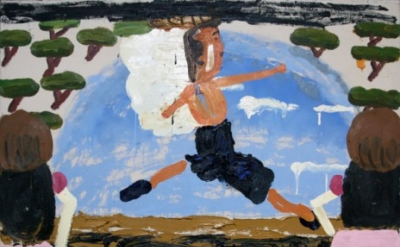 Rose Wylie, Danish Ballet, 2006, oil on canvas, 70.47 x 72.44 inches (courtesy o