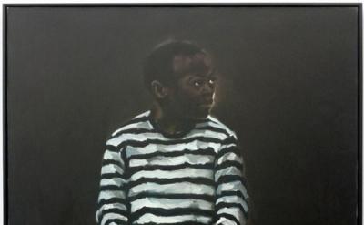 Lynette Yiadom-Boakye, 11 pm Friday, 84 x 72 inches, oil on canvas, 2008 (courte