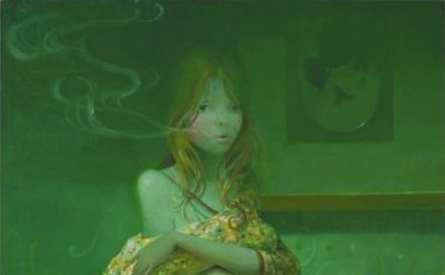 Lisa Yuskavage, The Smoker 2008 Oil on linen 60 x 42 inches (courtesy David Zwir