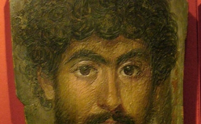 A Man with High Coloring, Egypt, 161-180 A.D., encaustic on wood, detail