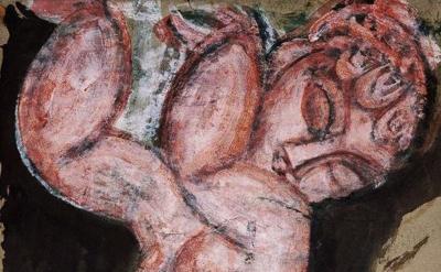 Modigliani, Nude Caryatid, detail
