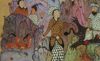 Persian Manuscript, The Court of Gayumarth, detail