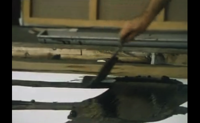 Pierre Soulages painting in the studio