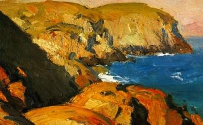 Blackhead, Monhegan, 1916-19, oil on panel, detail