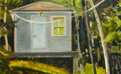 Lois Dodd, Elliott's Place, 1993. Oil on panel, detail