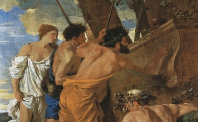 Nicolas Poussin, The Arcadian Shepherds, c.1629, oil on canvas, detail