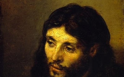 Rembrandt Harmensz. Van Rijn, Head of Christ, (1648-50) oil on panel, detail