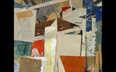 Kurt Schwitters, Mz x 19, 1947; collage, oil, paper, and cardboard on cardboard