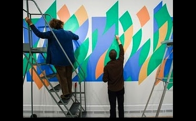 Bridget Riley assistants paint mural