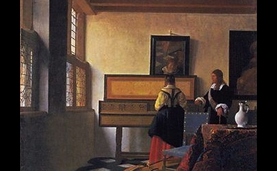 Vermeer, Music Lesson, detail
