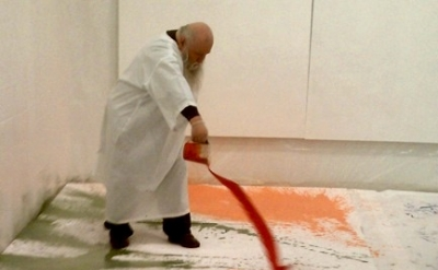 Hermann Nitsch painting live at Mike Weiss Gallery