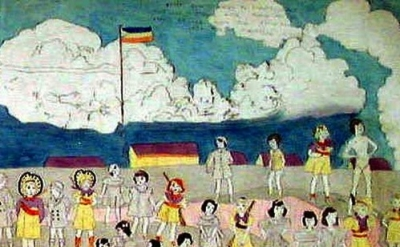 Henry Darger painting, detail