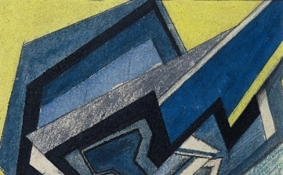 Helen Saunders, Abstract Composition in Blue and Yellow, (circa 1915), detail