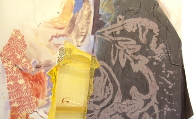 Lauren Luloff, Yellow Window, 2011, Oil, bleached bed sheets, and fabric on musl